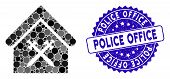 Mosaic Guard Office Icon And Grunge Stamp Seal With Police Office Phrase. Mosaic Vector Is Formed Fr poster
