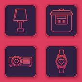 Set Line Table Lamp , Presentation, Movie, Film, Media Projector , Slow Cooker And Smart Watch Showi poster