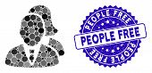 Mosaic People Icon And Rubber Stamp Watermark With People Free Phrase. Mosaic Vector Is Composed Wit poster