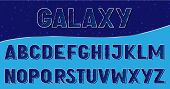 Galaxy Alphabet Style. Mettalic Alphabet Typeface With Galaxy Sparkling Stars. Typography Design For poster