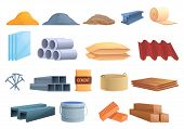 Construction Materials Icons Set. Cartoon Set Of Construction Materials Vector Icons For Web Design poster