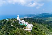 Vesak Day Background Concept Of Big Buddha Over High Mountain In Phuket Thailand Aerial View Drone S poster