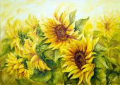 Sunny Sunflowers,  oil painting on canvas