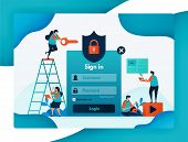 Website Login Template For Protecting User Account Security, Secure And Protection For Privacy And F poster