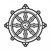 Dharmachakra (dharma Wheel) Symbol In Buddhism. Black And White Line Icon, Tattoo Design. Isolated V poster