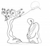 One Continuous Line Drawing Of Buddhist Monk And Nature. Simple Line Art Drawing Of Buddhist Monk Wi poster