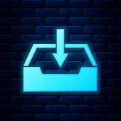 Glowing Neon Download Inbox Icon Isolated On Brick Wall Background. Vector Illustration poster