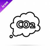 Black Line Co2 Emissions In Cloud Icon Isolated On White Background. Carbon Dioxide Formula Symbol, poster
