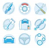 Modern Linear Pictogram Of Auto Parts. Icons Of Auto Parts. Automotive Services Auto Parts. Computer poster