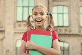 The Books Shes Always Dreamed Of. Happy Little Girl Hold Books With Colorful Covers. Cute Small Chil poster