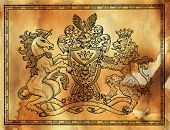 Heraldic Drawing With Unicorn And Lion In Frame Against Texture Background. Hand Drawn Engraved Illu poster
