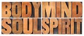 body, mind, soul and spirit - a collage of isolated words in vintage wood letterpress printing block poster