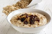 stock photo of porridge  - Porridge with walnuts - JPG