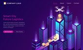Smart City Future Logistic Isometric Landing Page. Drone Delivery Cargo On Conveyor Belt At Modern N poster