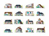 Residential House. Village Building Exterior Modern Townhouses Vector Collection Set. Illustration B poster