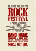 Rock festival design template with scull and place for text.
