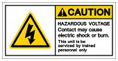 Caution Hazardous Voltage Contact May Cause Electric Shock Or Burn Symbol Sign, Vector Illustration, poster