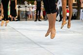 Ballet Dancers Practicing Performance Outdoors. Close Up Of Ballerina Feet Wearing Slippers Practice poster