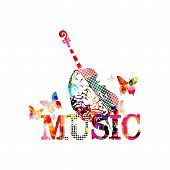 Colorful Music Promotional Poster With Violoncello And Human Brain Isolated Vector Illustration. Art poster