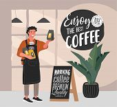 Coffee Shop Hand Drawn Collection . Cartoon Man Barista Character Standing Next To Stand With Handwr poster