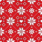 Christmas Or Winter Scottish Fair Isle Style Traditional Knitwear Vector Seamless Pattern With White poster