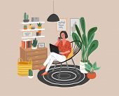 Cute Woman Sitting On Chair With Laptop In Cozy Scandinavian Home Interior. Girl Working At Home In  poster