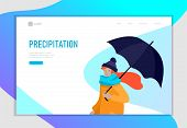 Landing Page Template For Weather Forecast. Various Stylish People Character Go On Street Under Umbr poster