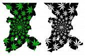 Koulikoro Region (regions Of Mali, Republic Of Mali) Map Is Designed Cannabis Leaf Green And Black,  poster