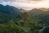 Aerial view of the Anaga Mountain Range with the atlantic ocean in the back, Tenerife, Canary Island poster