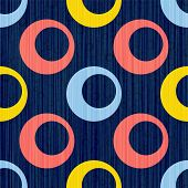Blue Red Yellow Circle Rings Textile Print. Round Shape Geometric Elements Vector Seamless Pattern.  poster