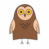 Cute Owl. Color Vector Illustration. The Object Is Isolated On A White Background. Forest Bird, Pred poster
