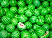 Sweets In The Form Of A Watermelon. Multi-colored Sweets. Close-up. Childrens Sweets. The Cause Of C poster