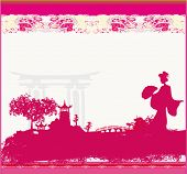 old paper with geisha and Asian Landscape , vector illustration