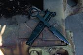 Military Knife. Knife On A Military Machine. Military Color. poster