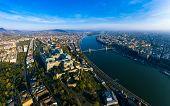Budapest, Hungary wide panorama photo of buda castle and chainbridge . poster