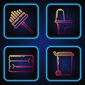 Set Line Trash Can , Towel Stack , Squeegee, Scraper, Wiper And Toilet Bowl . Gradient Color Icons.  poster