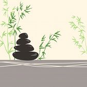 Spa Concept Stylized Zen Basalt Stones With Green Bamboo And Leaves