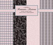 Stylish Romantic Vector Patterns - set of complementary seamless patterns, including argyle plaid, cherry tree, love letter and herringbone, in pink, black, gray and white