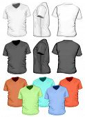 Vector. Men's V-neck t-shirt design template (front, back and side view)