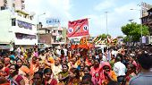 Devotees Dancing On Streets During Rathyatra
