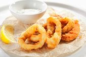 Breaded fried squid rings and shrimp with tartar sauce on white restaurant plate isolated. Roasted s poster