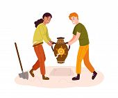 Smiling Cartoon Archeologists Digging Out Prehistoric Vase Vector Illustration. Man And Woman Making poster