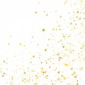Flying Gold Star Sparkle Vector With White Background. Flying Gold Gradient Christmas Sparkles Glitt poster