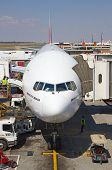 JOHANNESBURG - APRIL 18:Boeing B777 disembarking passengers after intercontinental flights on April