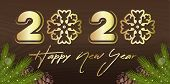 2020 Happy New Year - Golden Inscription On Wooden Background. Stylized Inscription With Snowflakes  poster