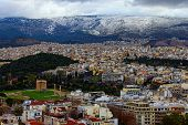 Amazing Aerial View Over The City Of Athens Against Cloudy Sky. Famous Touristic Place And Travel De poster