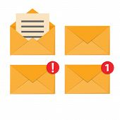 Letter In Mail Envelope. Mailbox Notification Or Email Message Icons Receiving Mms Closed Post Lette poster
