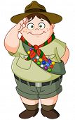 Happy Boy Scout saluting