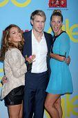 LOS ANGELES - SEP 12:  Vanessa Lengies, Chord Overstreet, Heather Morris arrives at the Glee 4th Sea
