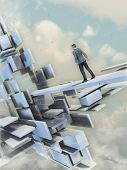 Man walking on a path through a surreal floating building. Digital illustration.
